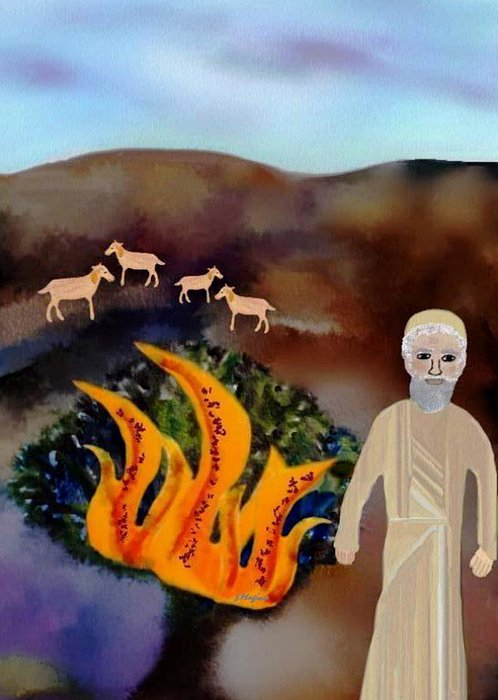 Moses Burning Burn Flame Flames Fire Mountains Sky Goat Goats Flock Shepherd Field Bush Nature Lord Angel Heaven Exodus Biblical Bible Painting - The Burning Bush by Sher Magins