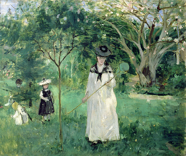 The Painting - The Butterfly Hunt by Berthe Morisot
