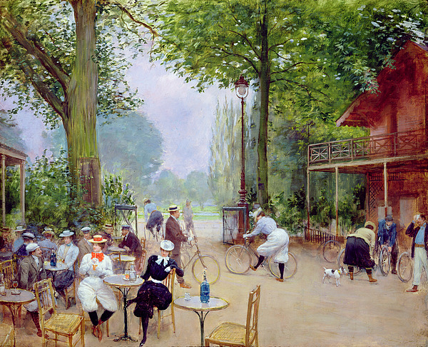 The Painting - The Chalet Du Cycle In The Bois De Boulogne by Jean Beraud
