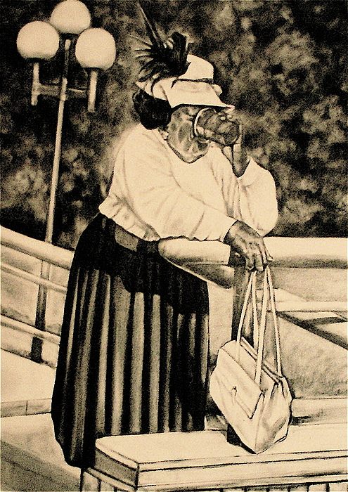 The Church Lady Drawing - The Church Lady by Curtis James