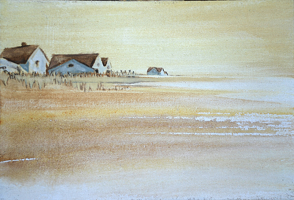 Island House Houses Beach Dunes Nantucket Hamptons Island Sand Blue Sea Ocean  Painting - the cottages on BH Island by Amy Bernays