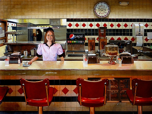 Doug Strickland Painting - The Fifties Diner by Doug Strickland