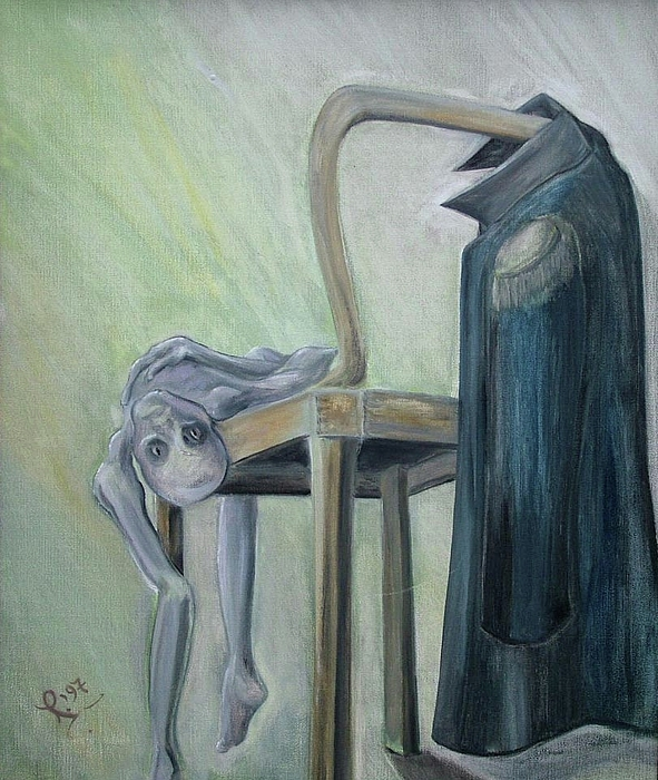 Surrealist Drama Painting - The Fight by Michele D B