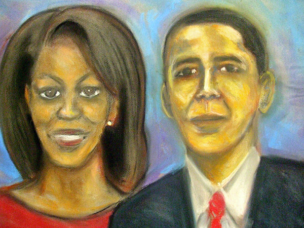 President; Obama; First Family; Michelle Obama; White House; Portrait Drawing - The First Couple by Jan Gilmore