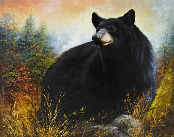 Fall Bear Painting Painting - The Gatekeeper by Katherine Tucker