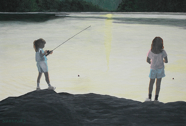 Girls Painting - The Girls At The Lake by Candace Shockley
