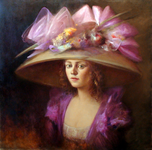 Women In Hats Paintings Painting - The Hat by Loretta Fasan