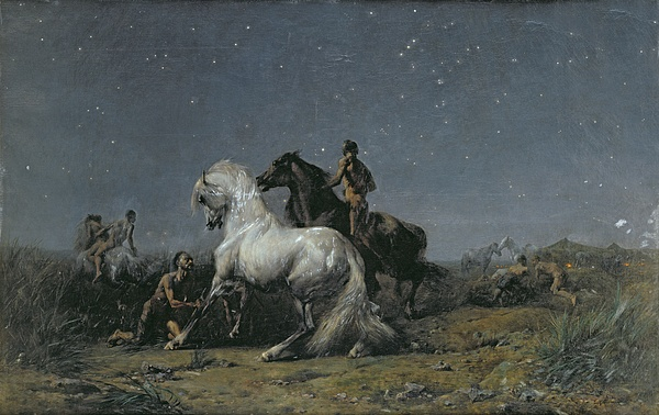 The Painting - The Horse Thieves by Ferdinand Victor Eugene Delacroix