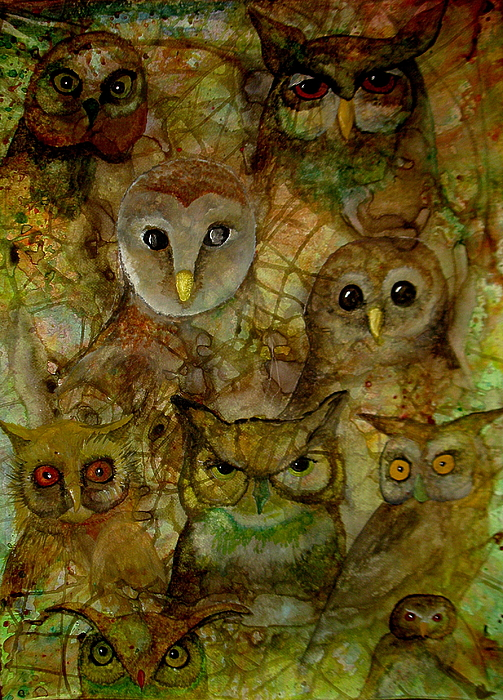 Owls Painting - The Humble 9 by Amy Sorrell