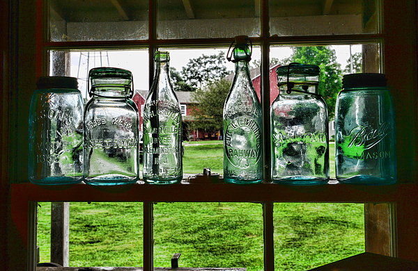 Bottles And Jars In The Window Photograph - The Kitchen Window by Paul Ward