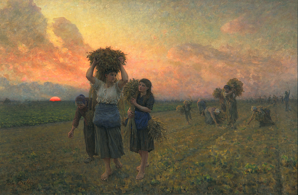 French Realist Painting - The Last Gleanings by Jules Breton