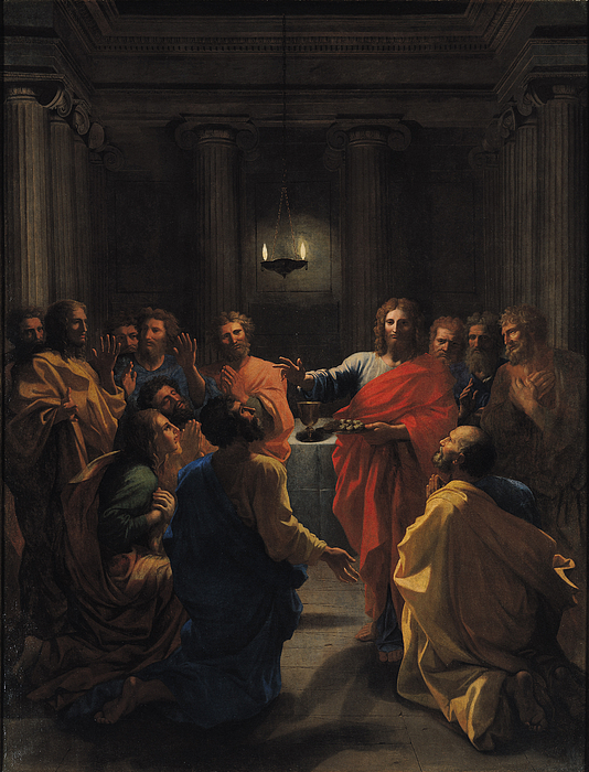 Christ Instituting The Eucharist Painting - The Last Supper by Nicolas Poussin