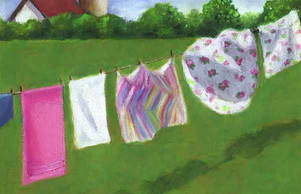 The Laundry On The Line Pastel