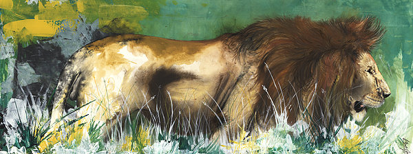 African American Artist Painting - The Lion by Anthony Burks Sr