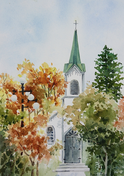 Original Painting - The Little White Church by Bobbi Price