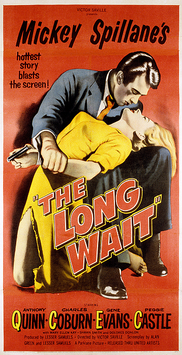 1950s Poster Art Photograph - The Long Wait, Anthony Quinn, Peggie by Everett