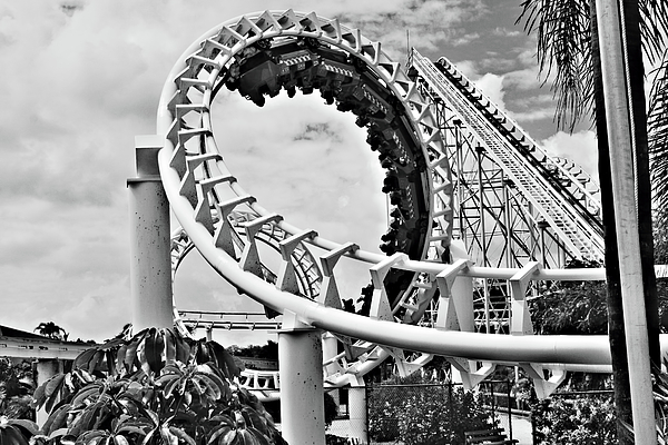 Roller Coaster Photograph - The Loop Black And White by Douglas Barnard