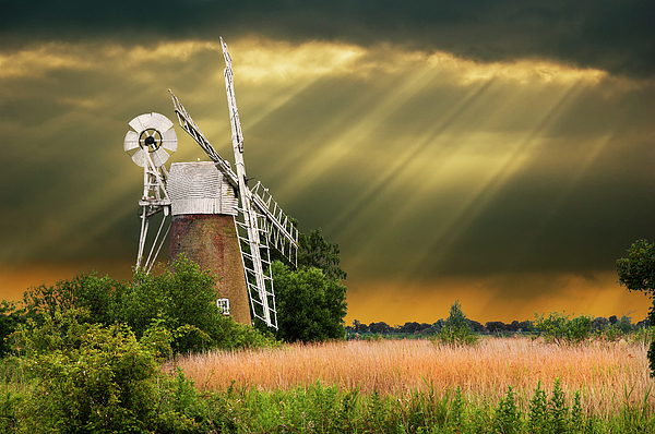 Windmill Photograph - The Mill On The Marsh by Meirion Matthias