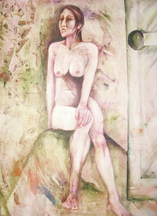 This Painting Might Also Be Entitled 'the Morning After A One Night Stand'.  Seated Nude Woman Looking Away From Open Door.  Abstract Background.  Rendered In Browns Painting - The Morning After by Georgia Annwell