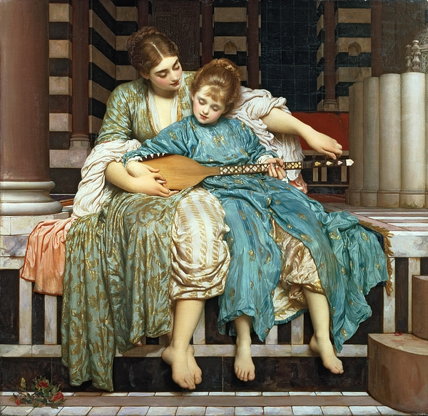 The Music Lesson Painting - The Music Lesson by Frederic Leighton