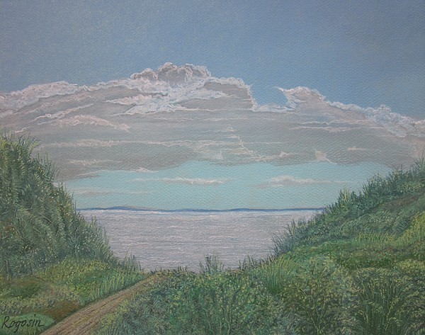 Land/seascape Pastel - The Path To Ryder Beach by Harvey Rogosin
