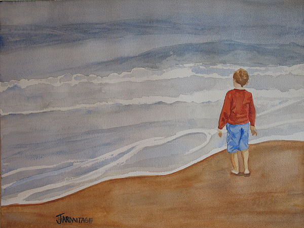 Boy Painting - The Red Shirt by Jenny Armitage