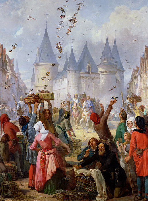 The Return Of St. Louis (1214-70) And Blanche Of Castille (1188-1252) To Notre-dame Painting - The Return Of Saint Louis Blanche Of Castille To Notre Dame Paris by Pierre Charles Marquis