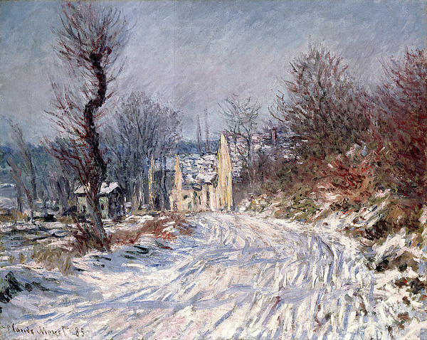 The Road To Giverny In Winter Painting