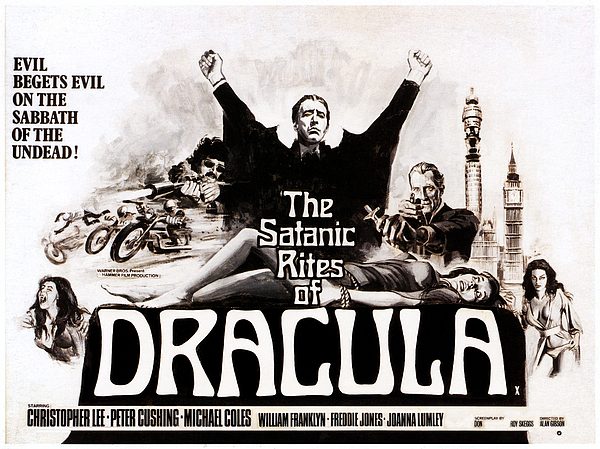 1970s Poster Art Photograph - The Satanic Rites Of Dracula, Center by Everett