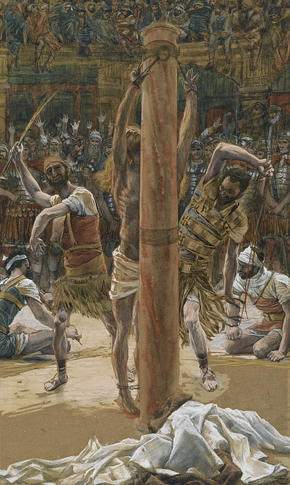 Life Of Christ; Beating; Passion; Mocking Of Christ; Bound; Flogging; Humiliation; Agony; Crowd; Jeering; Taunting; Mob Painting - The Scourging On The Back by Tissot