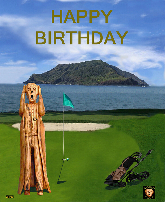 The Scream World Tour Golf  Happy Birthday Print by Eric Kempson