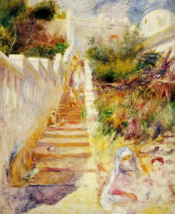 The Steps Painting - The Steps In Algiers by Pierre Auguste Renoir