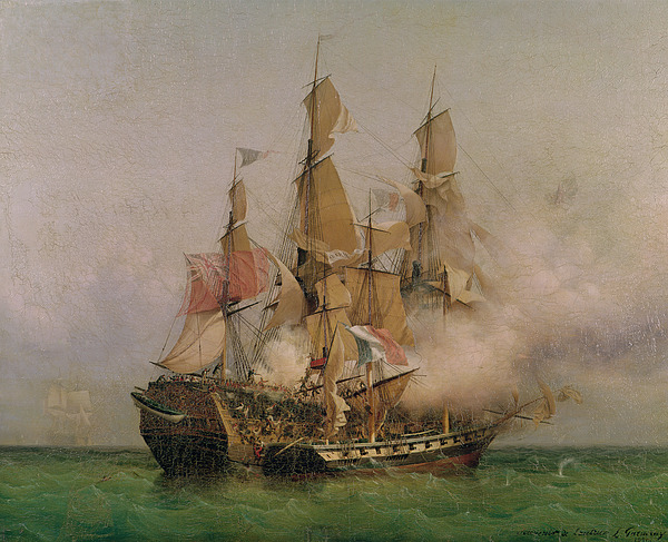The Painting - The Taking Of The Kent by Ambroise Louis Garneray