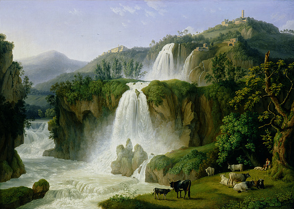 The Painting - The Waterfall At Tivoli by Jacob Philippe Hackert