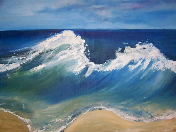 Seascape Painting - The Wave by Georgeanne Wayman