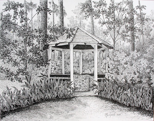 The Well At Bayou Gardens Drawing By Colleen Marquis