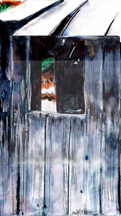 An Old Mysterious Barn With Deep Dark Shadows And Secrets. Rustic And Moody. Drawing - Thru The Barn Window by Seth Weaver