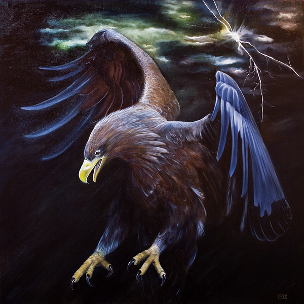 Eagle Painting - Thunder by Julie Bond