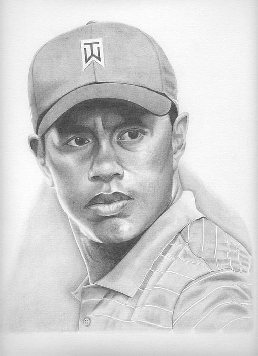 Tiger Woods Drawing By Kane Leinonen