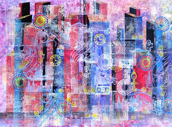 Big Cities Painting - Time In The City by David Raderstorf