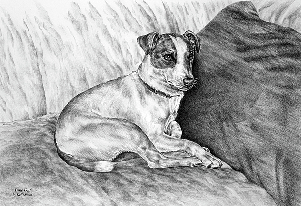 Jack Russell Drawing - Time Out - Jack Russell Dog Print by Kelli Swan