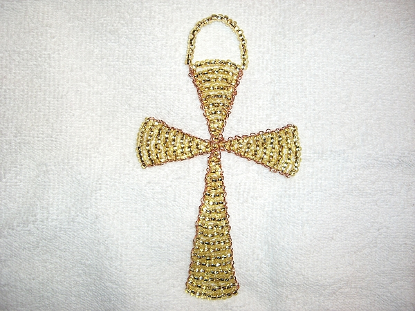 Topaz Wall Hanging Glass Beaded Suncatcher Copper Cross Print by Serendipity Pastiche