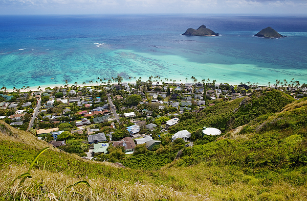 Aerial View Photograph - Town Of Kailua With Mokulua Islands by Inti St. Clair