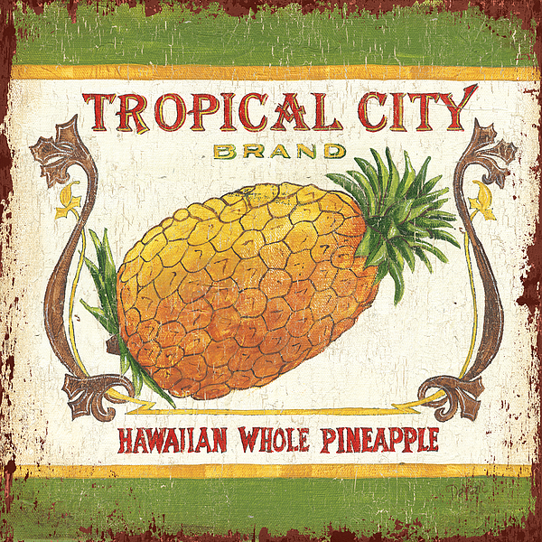 Kitchen Painting - Tropical City Pineapple by Debbie DeWitt