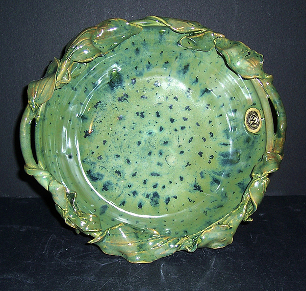 Green  Ceramic Art - Trout Pattern Glaze Bowl With Leaves by Carolyn Coffey Wallace