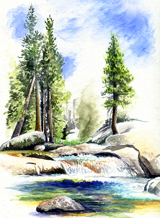 Tuolumne River On An August Afternoon Drawing