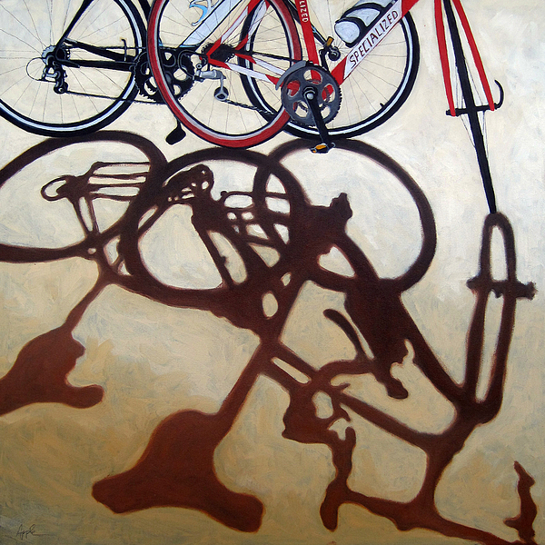 Two Bicycles Painting - Two Bicycles by Linda Apple