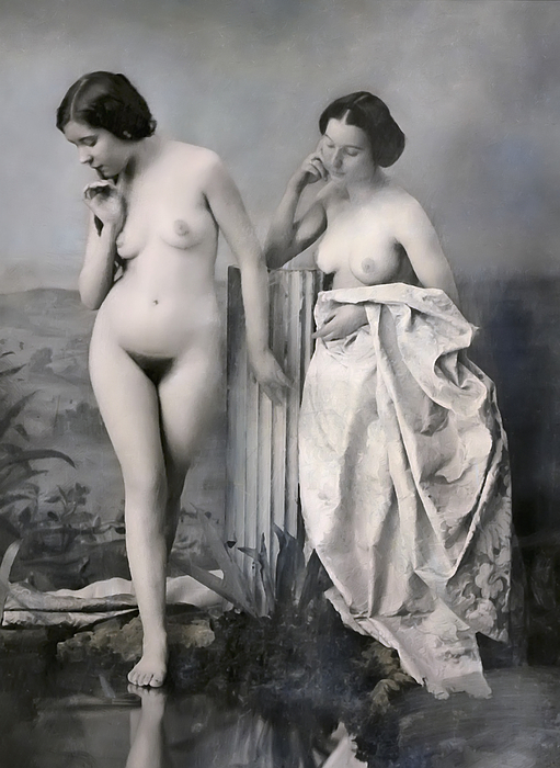 Two Nude Victorian Women At The Baths C. 1851 Photograph
