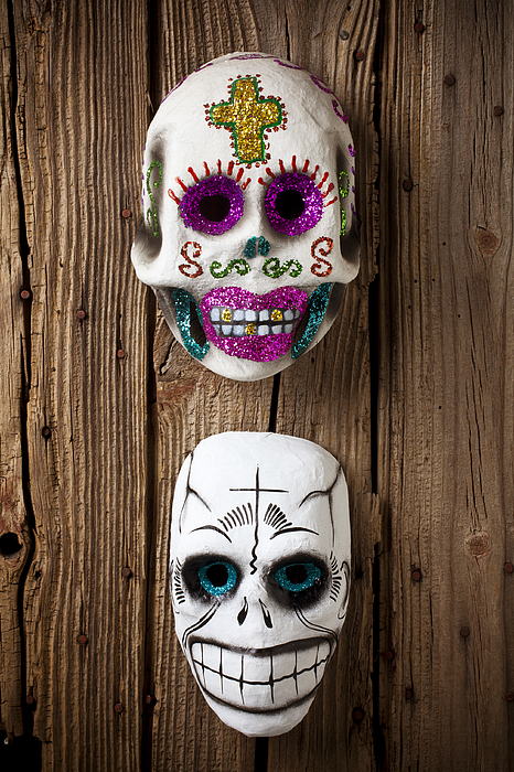 Mask Photograph - Two Skull Masks by Garry Gay