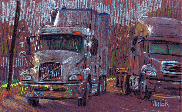 Trucks Drawing - Two Trucks by Donald Maier